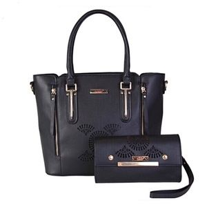 ✤ Sandrine Tote Bag/Wallet Two Piece Set [BLACK}